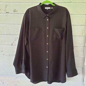 Calvin Klein Long Sleeve Button Top - Black